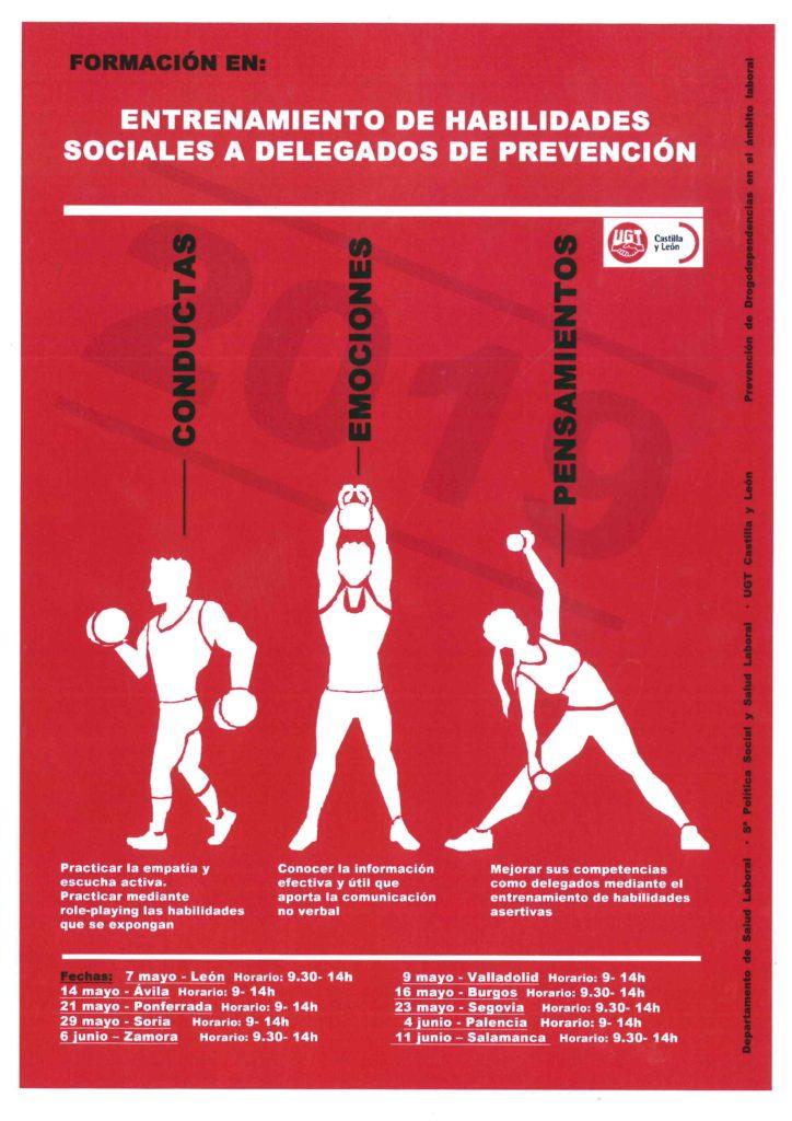 cartel entrenamiento de habilidades sociales para delegados de prevención