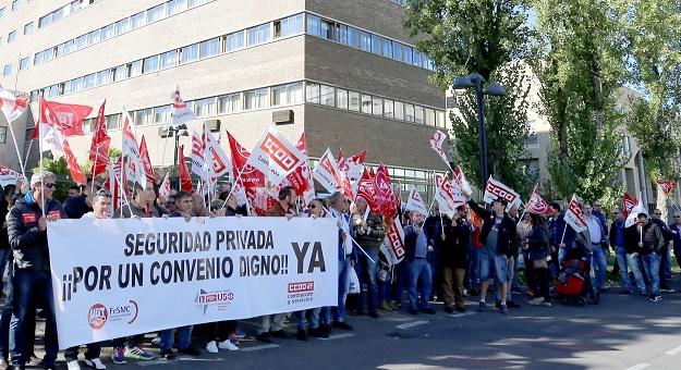 concentración vigilantes de seguridad en Valladolid