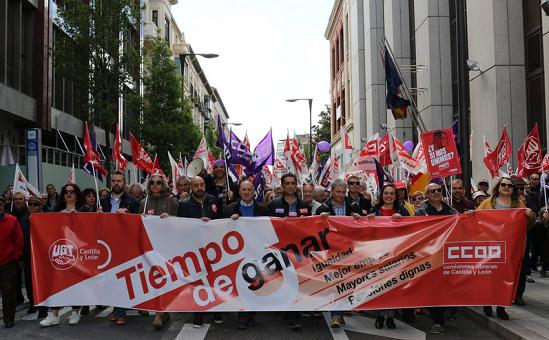 Faustino Temprano durante la manifestación del 1º de mayo