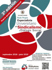 cartel 2018-2019 Especialista Universitario en Sindicalismo y Diálogo Social