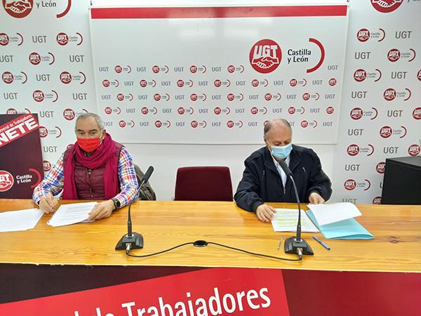 rueda de prensa celebrada hoy en la sede de UGTCyL con motivo de la valoración de los PGCyL que han llevado a cabo Faustino Temprano, Secretario General de UGTCyL y Evelio Angulo, vicesecretario general de UGT en Castilla y León.