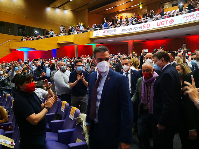 Pedro Sánchez a su llegada al auditorio valenciano donde se está celebrando el 43 Congreso Confederal